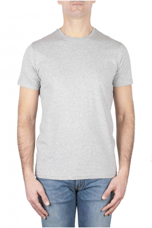SBU 01164_2020SS Shirt classique gris col rond manches courtes en coton 04