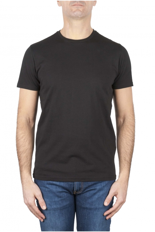 SBU 01165_2020SS Clásica camiseta de cuello redondo negra manga corta de algodón 04
