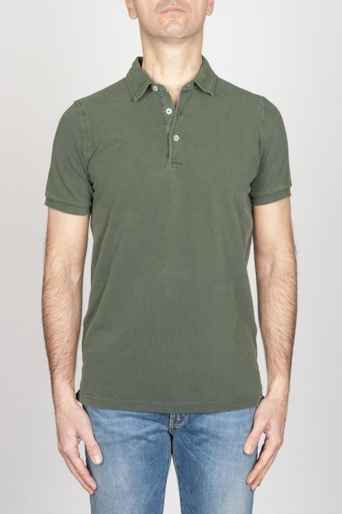 SBU - Strategic Business Unit - Classic Short Sleeve Stone Washed Green Pique Polo Shirt