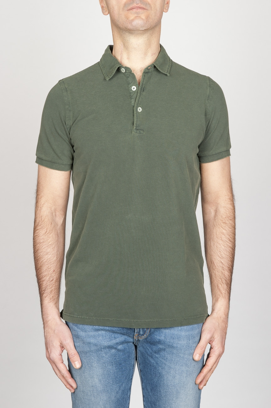 Classic Short Sleeve Stone Washed Green Pique Polo Shirt