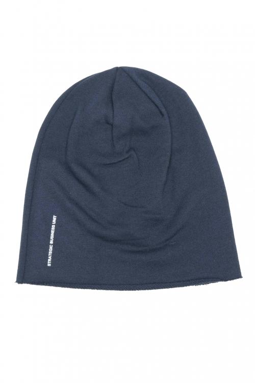 SBU 01190_2020SS Berretto classico in jersey taglio vivo blue 01