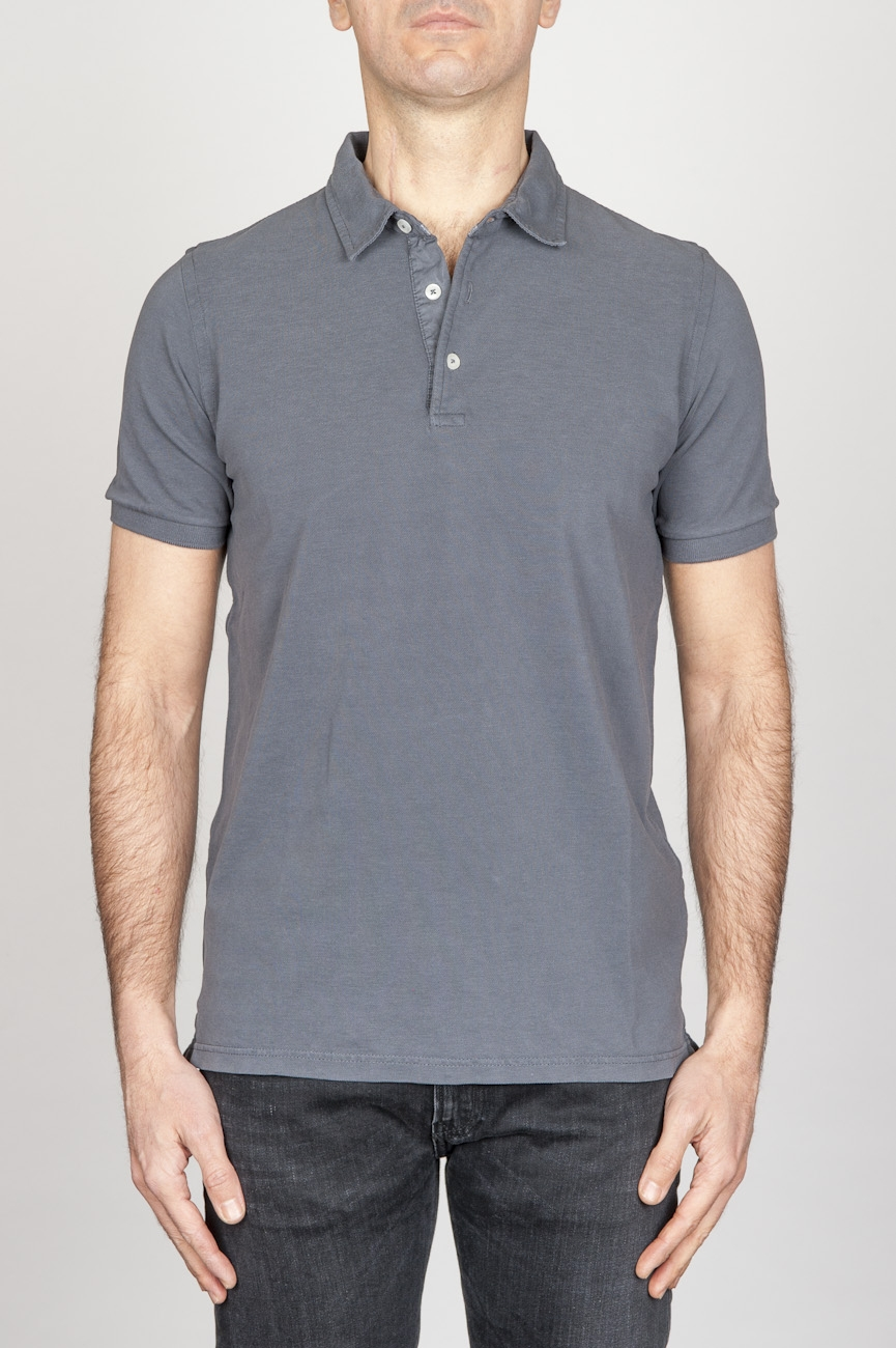 Classic Short Sleeve Stone Washed Grey Pique Polo Shirt