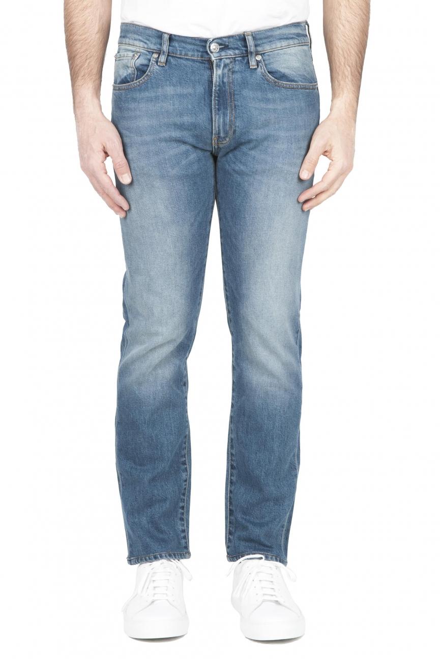 SBU 01450_2020SS Jeans elasticizzato in puro indaco naturale stone bleached 01