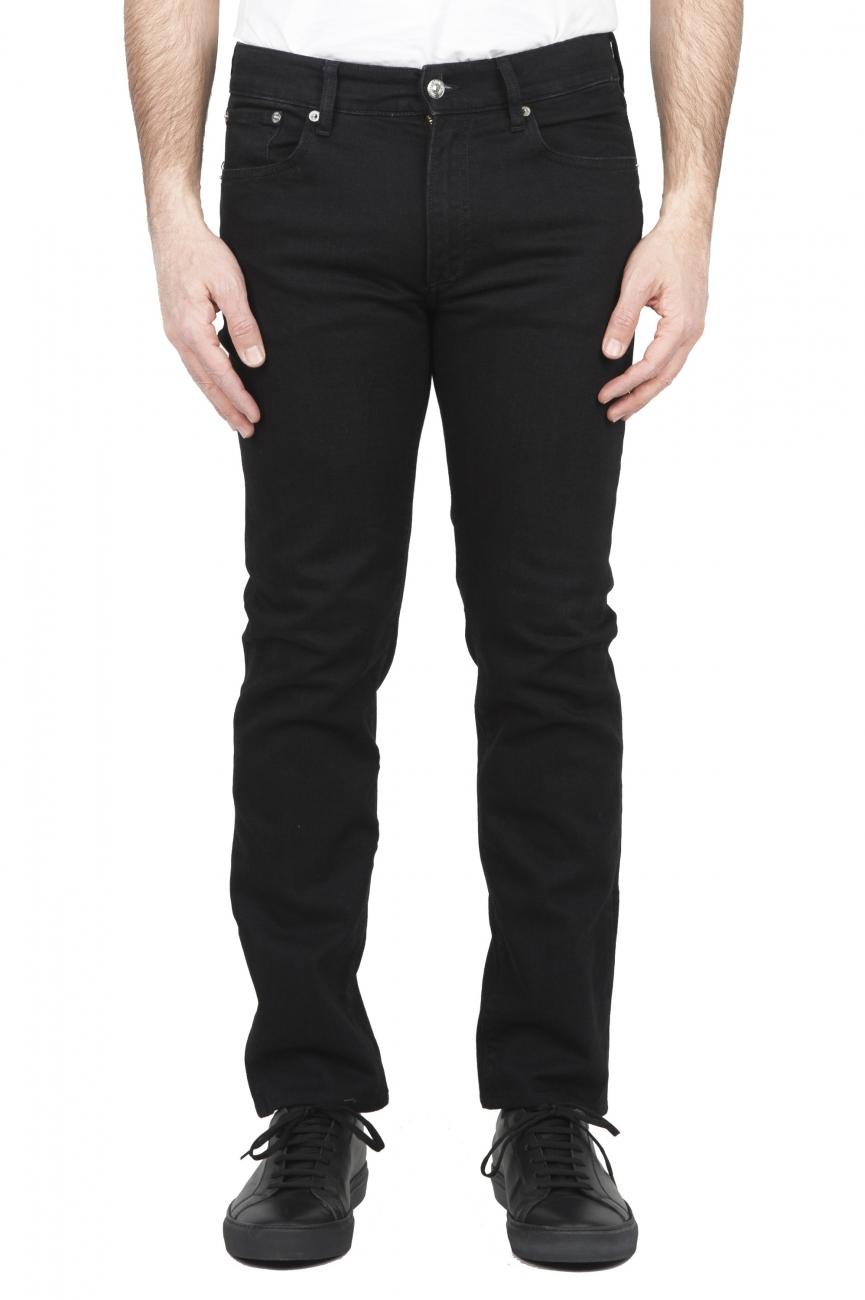 SBU 01587_2020SS Jeans en coton stretch noir teint à l'encre naturelle 01