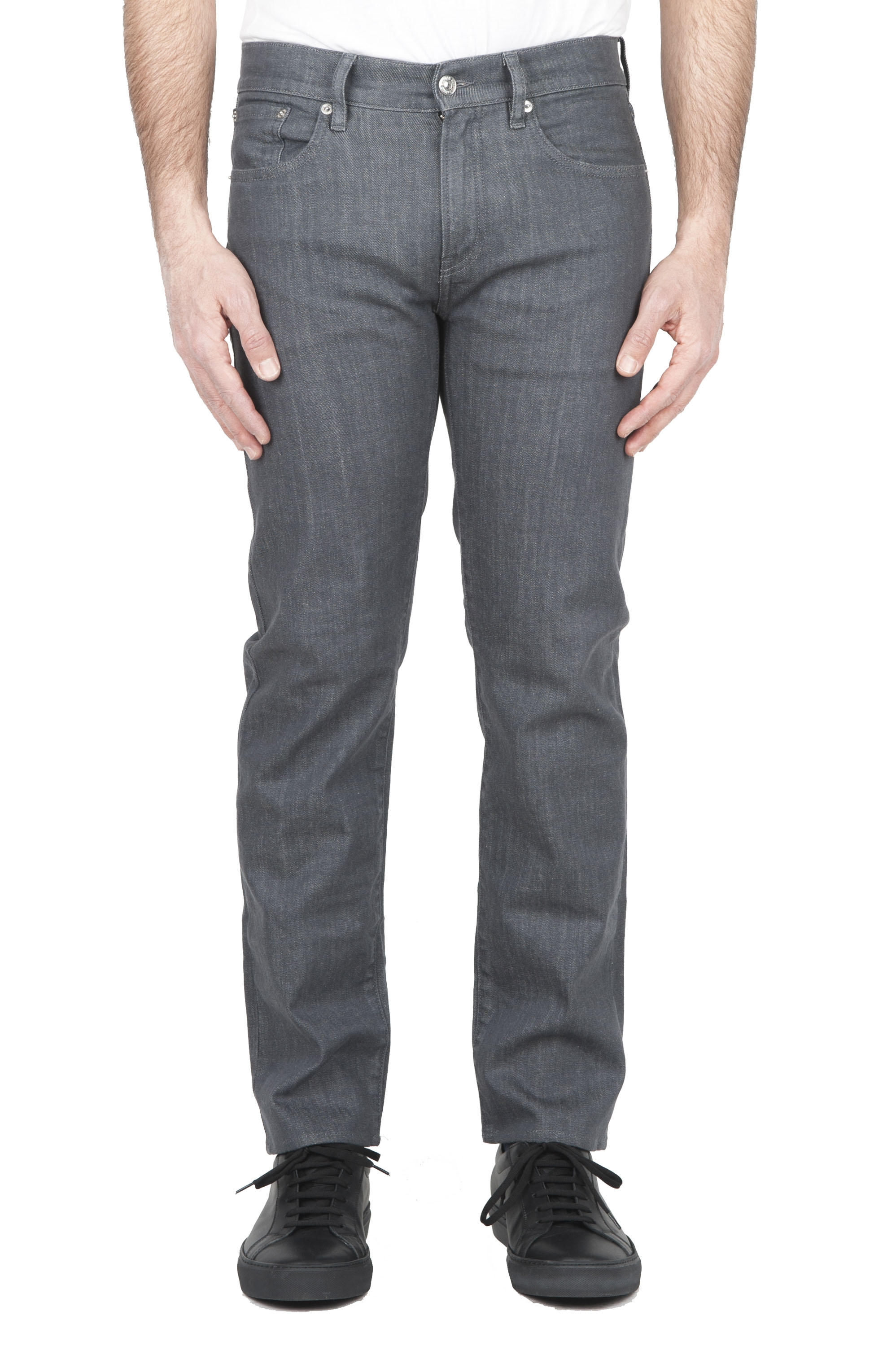 SBU 01454_2020SS Natural dyed grey washed japanese stretch cotton denim jeans 01