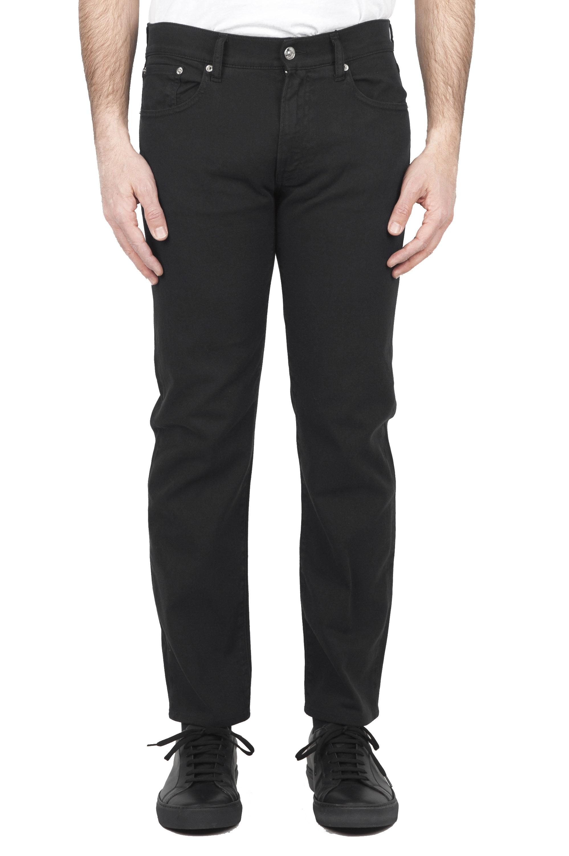 SBU 01668_2020SS Pantalones vaqueros de algodón denim elástico negro overdyed prelavado 01
