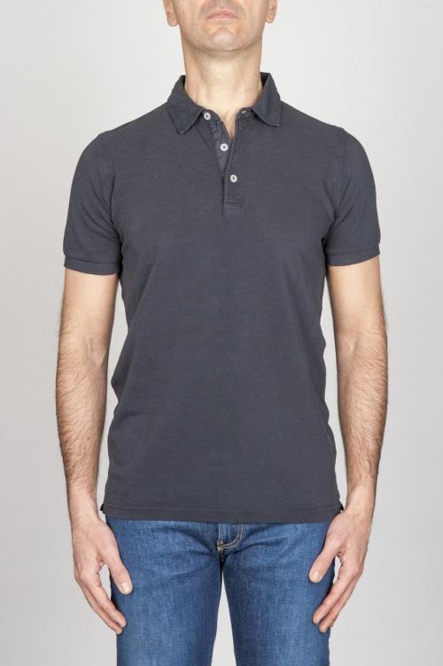 SBU - Strategic Business Unit - Classic Short Sleeve Stone Washed Blue Pique Polo Shirt