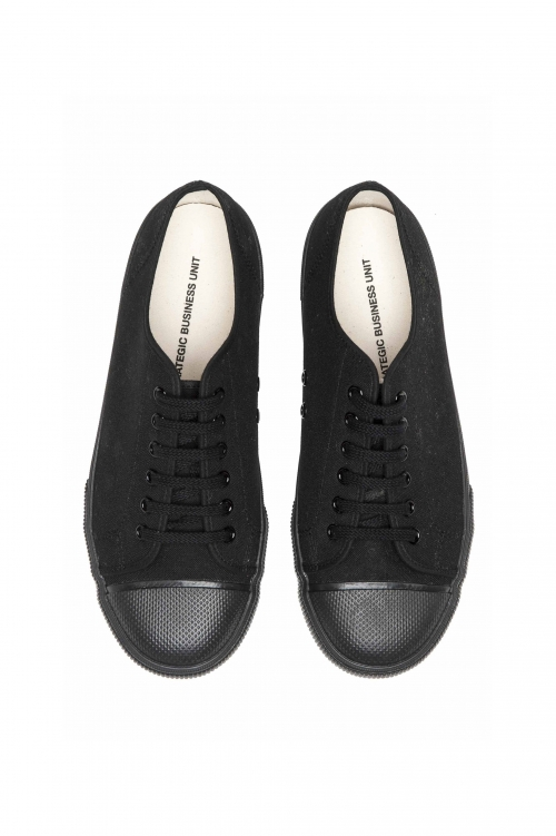 SBU 01532_2020SS Classic lace up sneakers in in black cotton canvas 01