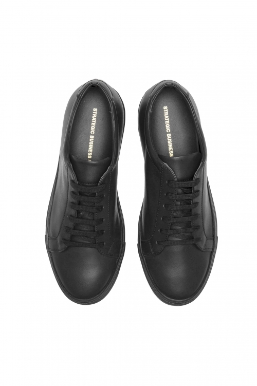 SBU 01527_2020SS Classic lace up sneakers in black calfskin leather 01