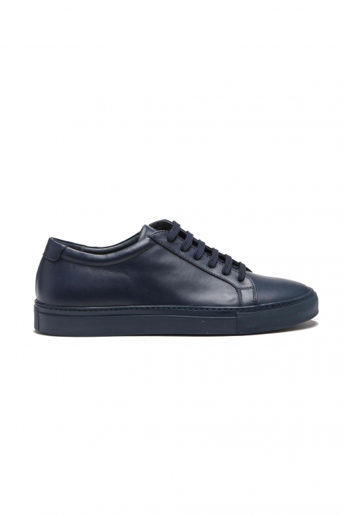 SBU 01525_2020SS Classic lace up sneakers in blue calfskin leather 01