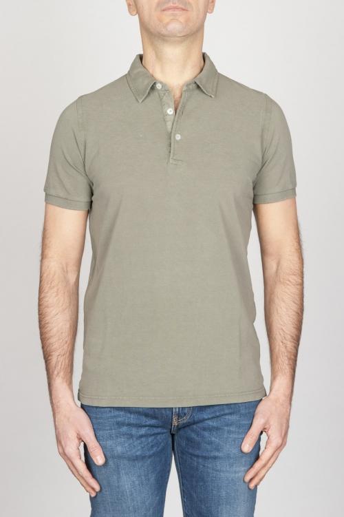 古典的な半袖石は軍事緑のピケのポロシャツを洗浄