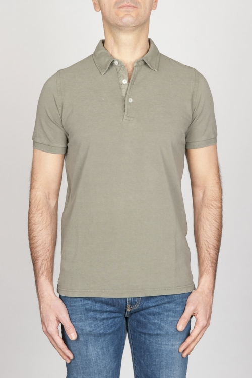 SBU - Strategic Business Unit - Polo In Cotone Pique Stone Washed A Maniche Corte Verde Militare