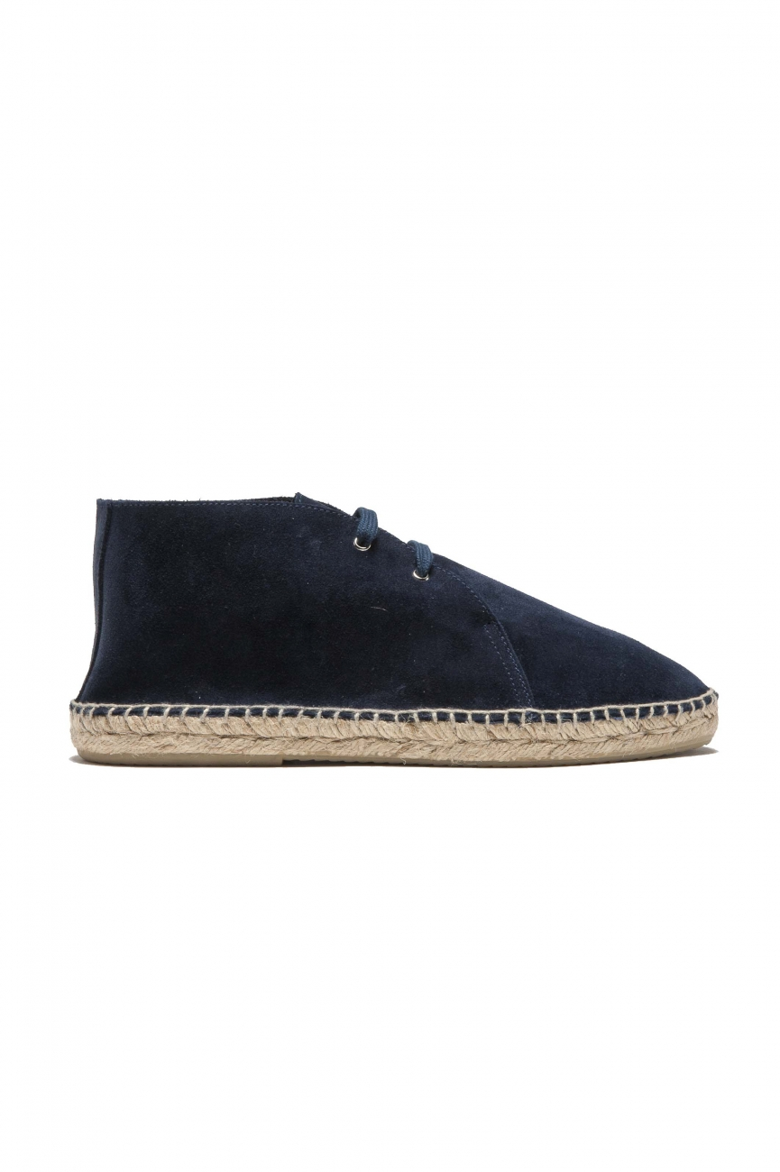 SBU 01709_2020SS Original blue suede leather lace up espadrilles with rubber sole 01