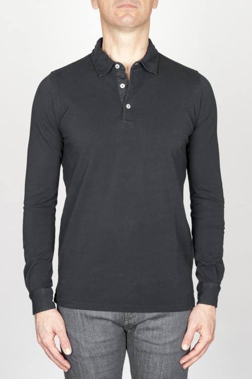 SBU - Strategic Business Unit - Classic Long Sleeve Stone Washed Black Pique Polo Shirt