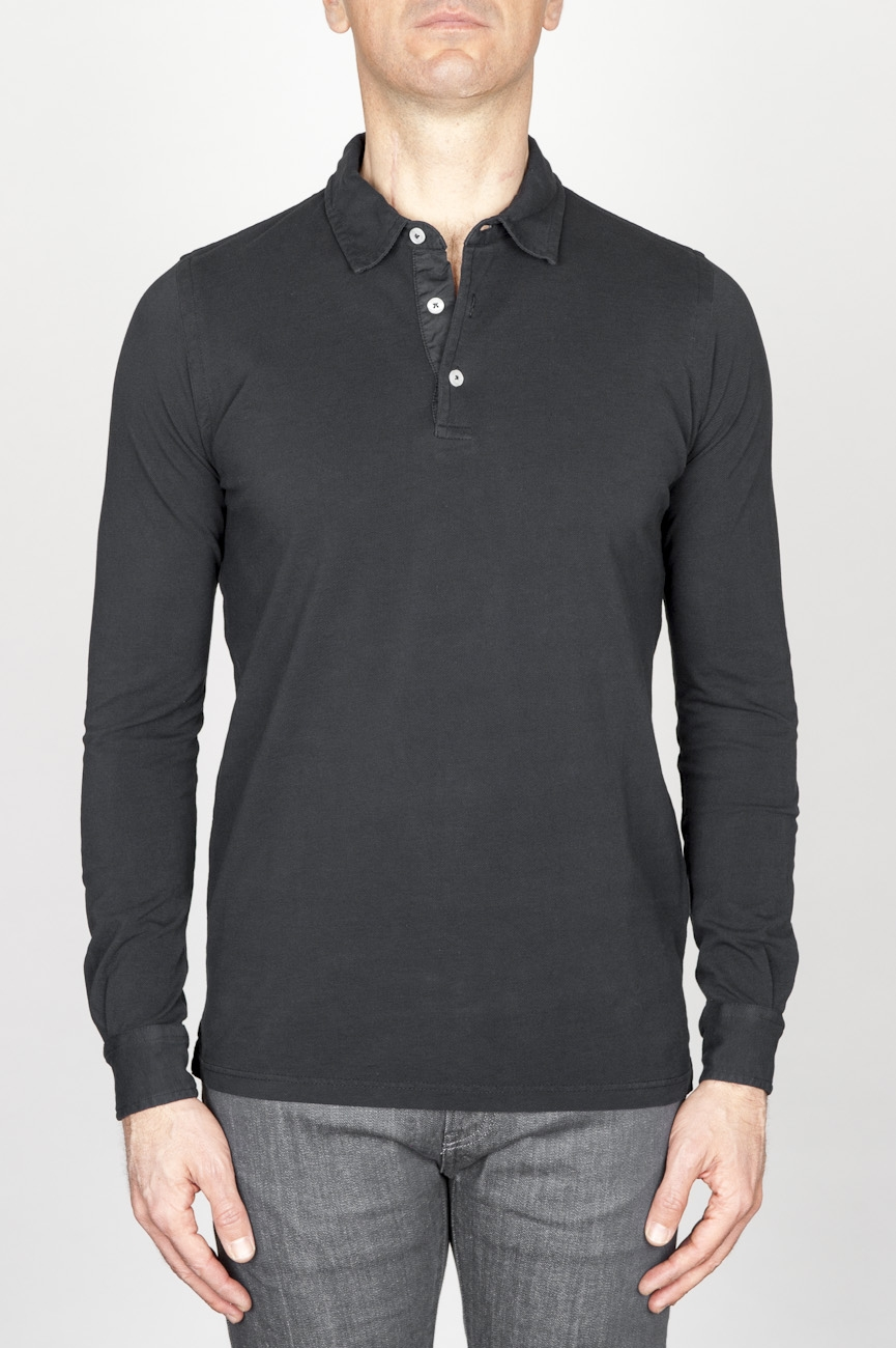 Classic Long Sleeve Stone Washed Black Pique Polo Shirt