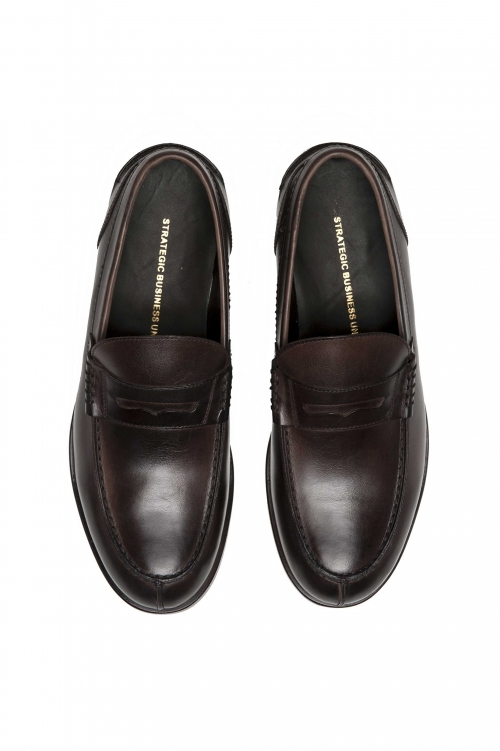 SBU 01505_2020SS Brown plain calfskin penny loafers with leather sole 01