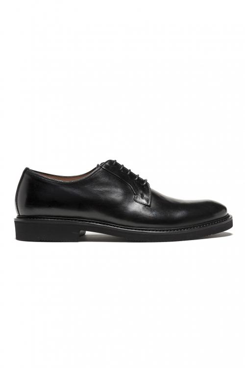 SBU 01499_2020SS Black lace-up plain calfskin derbies with Vibram rubber sole 01