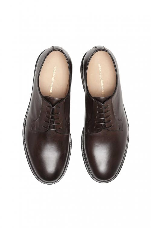 SBU 01500_2020SS Brown lace-up plain calfskin derbies with Vibram rubber sole 01