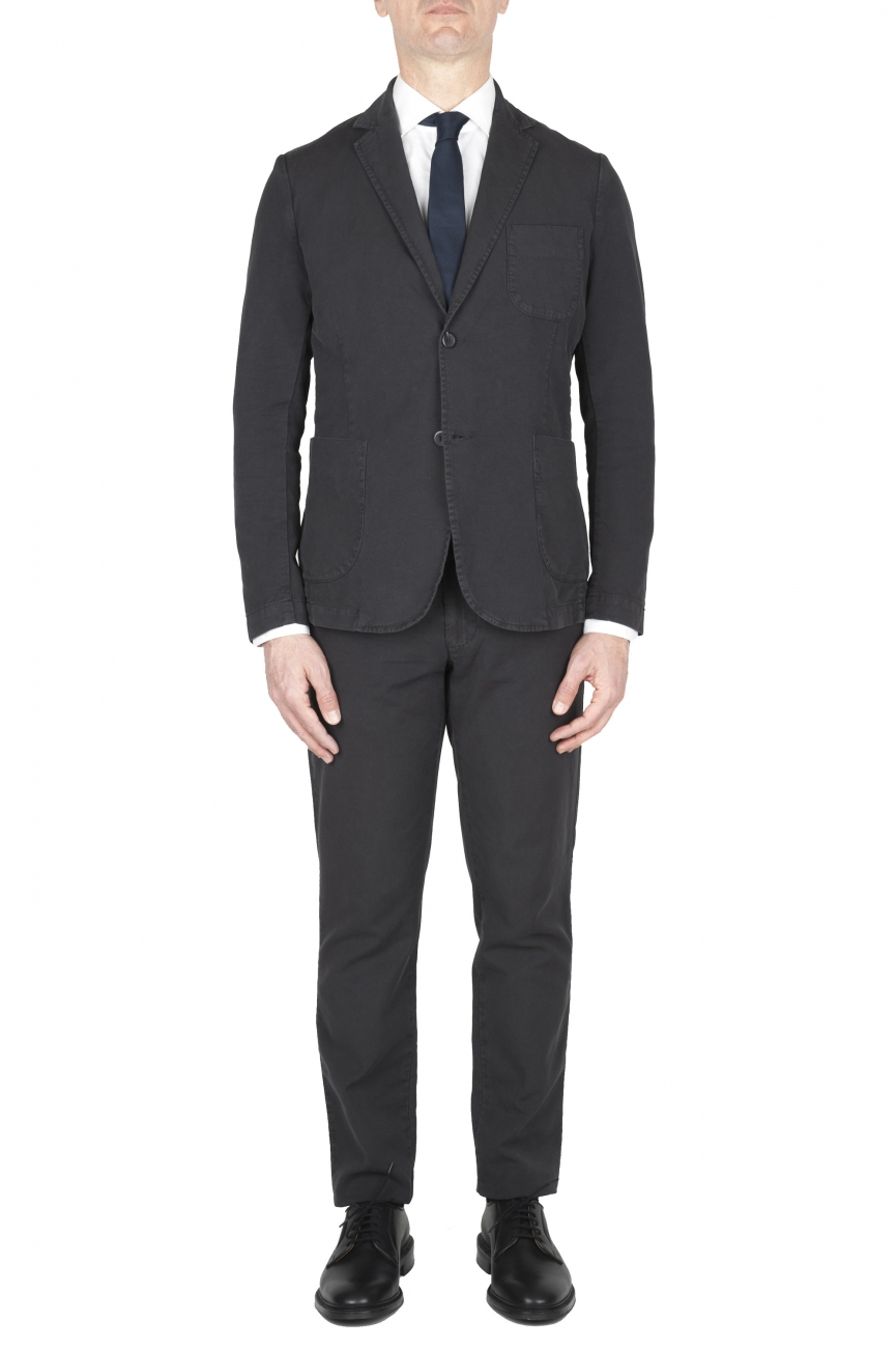 SBU 01741_2020SS Pantalon et blazer de costume de sport en coton anthracite 01