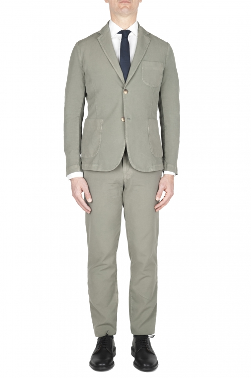 SBU 01745_2020SS Green cotton sport suit blazer and trouser 01