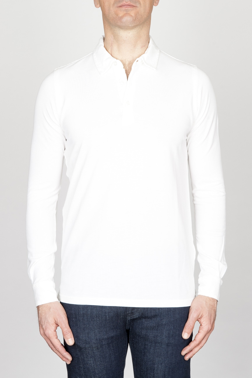 Classic Long Sleeve Stone Washed White Pique Polo Shirt