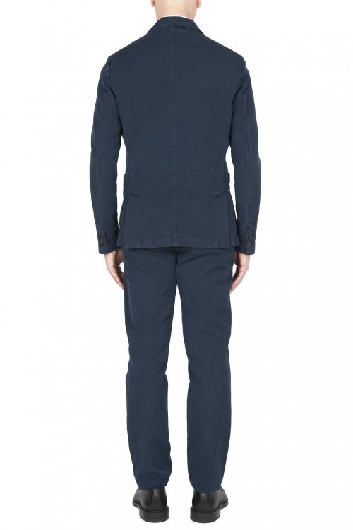 SBU 01746_2020SS Blazer y pantalón de traje deportivo de algodón azul marino 01