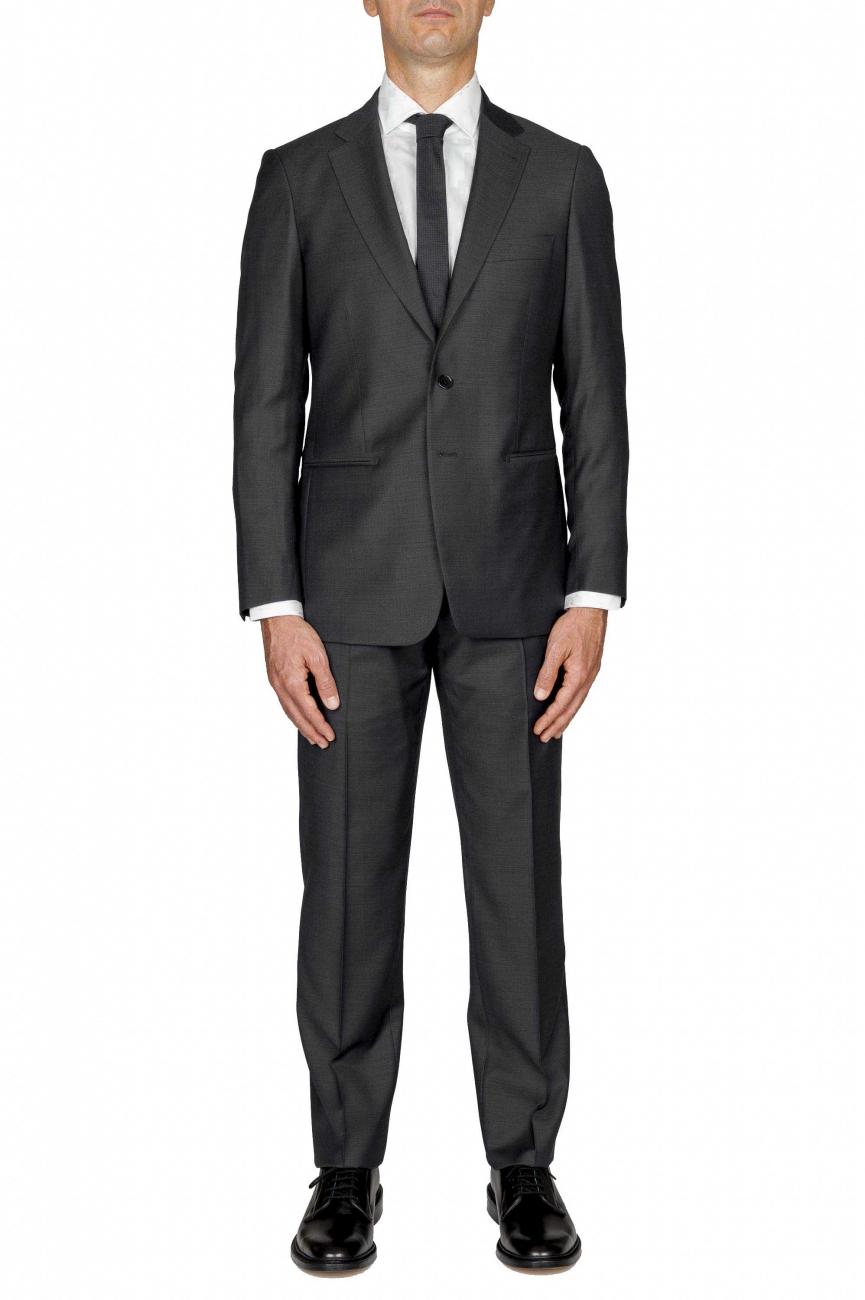 SBU 01052_2020SS Blazer et pantalon de costume noir en fresco de laine pour hommes 01