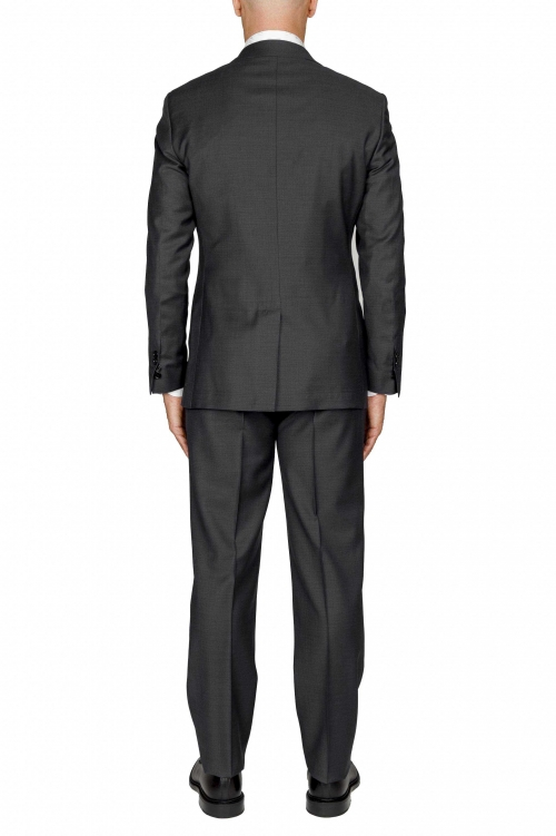 SBU 01052_2020SS Men's black cool wool formal suit blazer and trouser 01