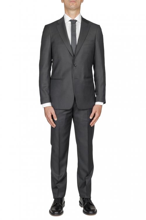 SBU 01054_2020SS Blazer et pantalon de costume gris en fresco de laine oeil de perdrix pour hommes 01