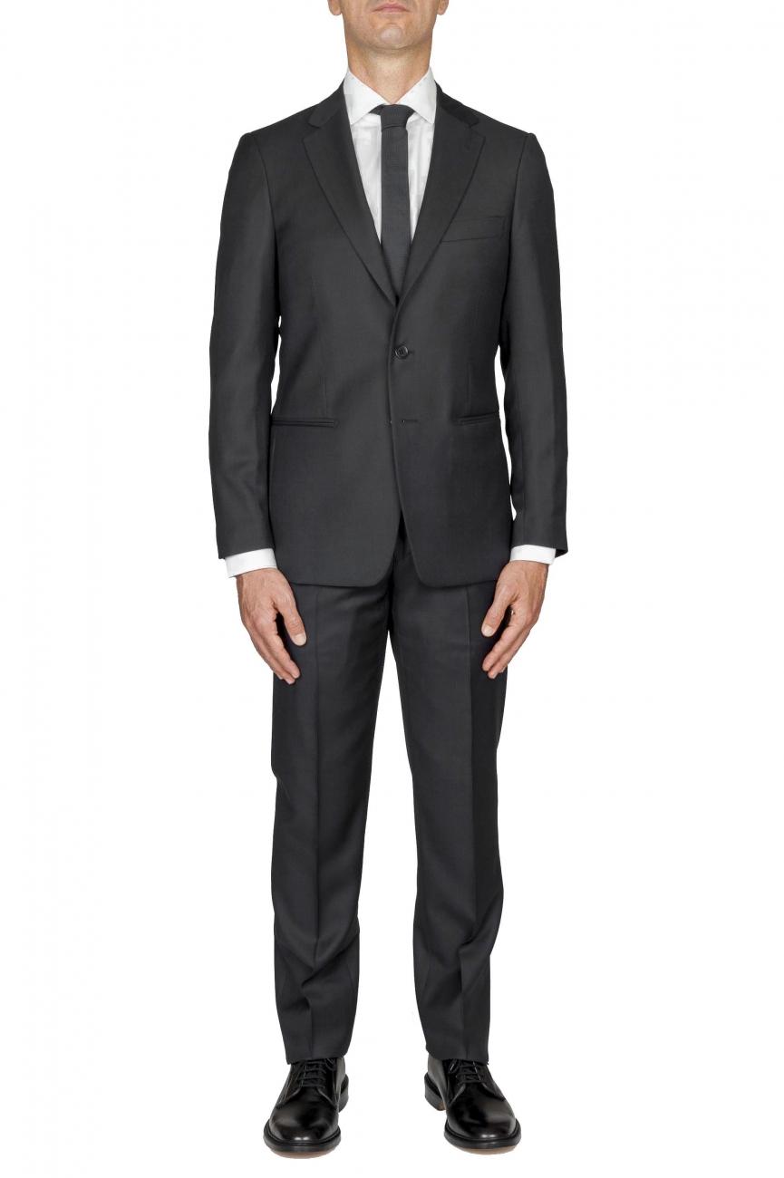 SBU 01055_2020SS Blazer et pantalon de costume gris foncé en fresco de laine oeil de perdrix pour hommes 01