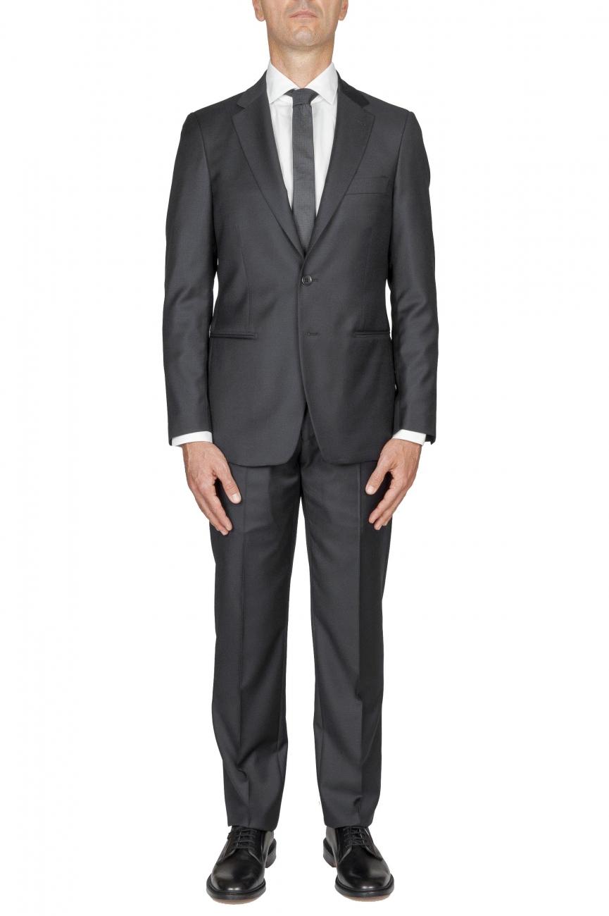 SBU 01057_2020SS Blazer et pantalon de costume gris en fresco de laine pour hommes 01