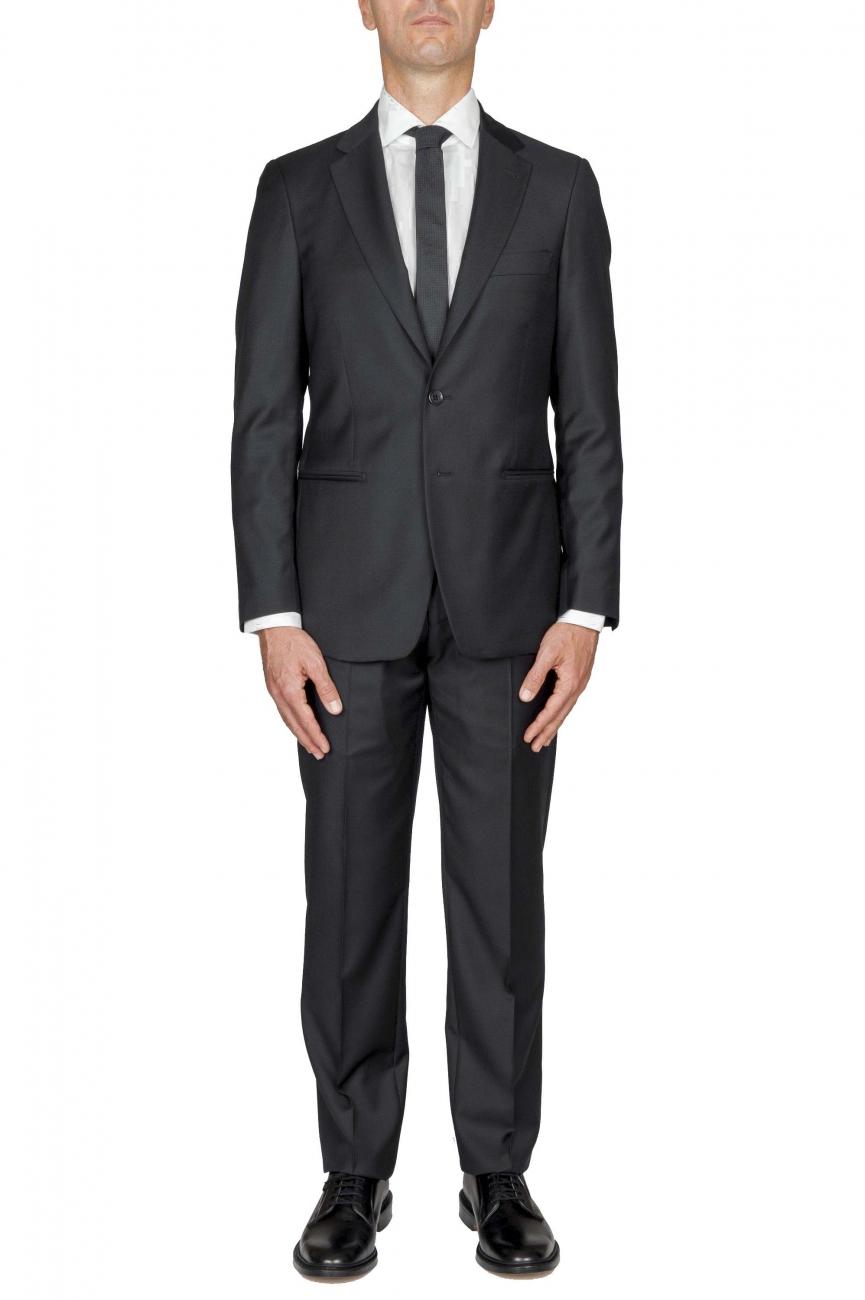 SBU 01058_2020SS Abito nero in fresco lana completo giacca e pantalone 01