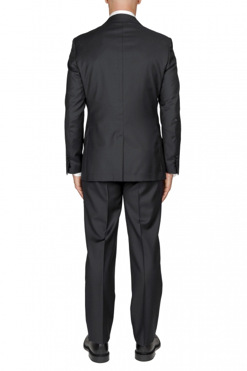 SBU 01058_2020SS Blazer y pantalón formal de lana fresca negro para hombre 01