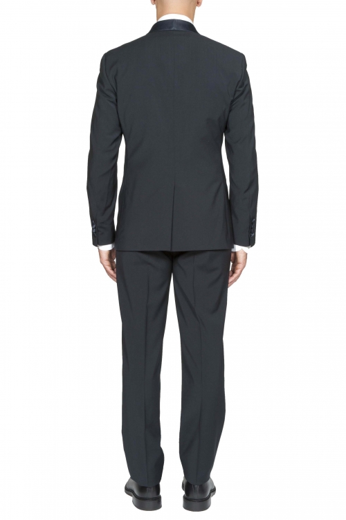 SBU 01059_2020SS Blouson et pantalon de smoking en laine bleue 01