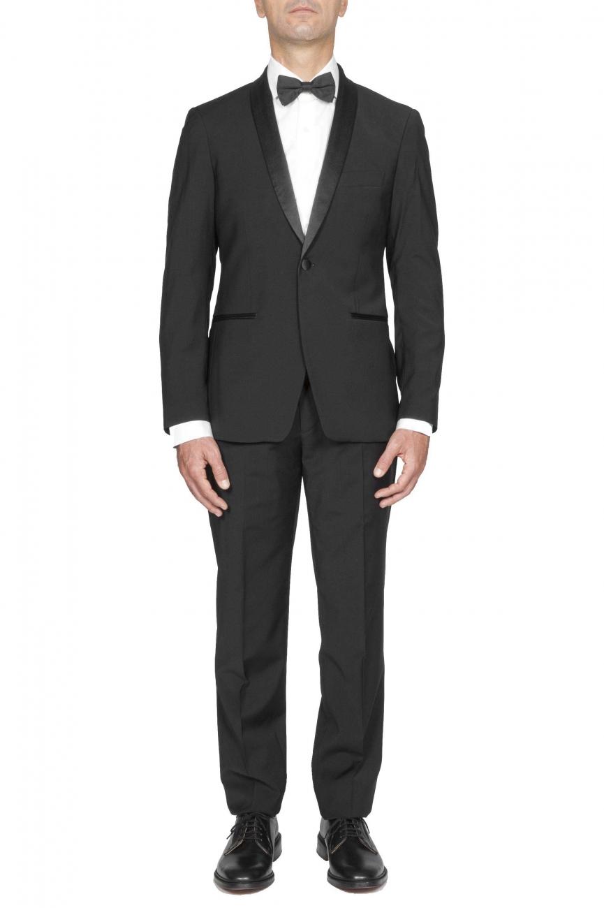 SBU 01060_2020SS Black wool tuxedo jacket and trouser 01