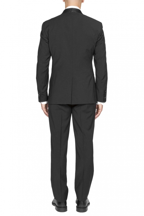 SBU 01060_2020SS Black wool tuxedo jacket and trouser 01