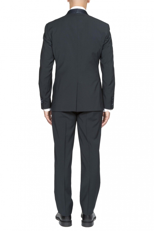 SBU 01061_2020SS Blouson et pantalon de smoking en laine bleue marine 01
