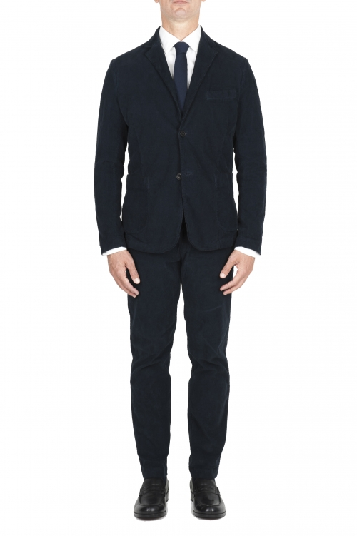 SBU 01551_2020SS Blue stretch corduroy sport suit blazer and trouser 01