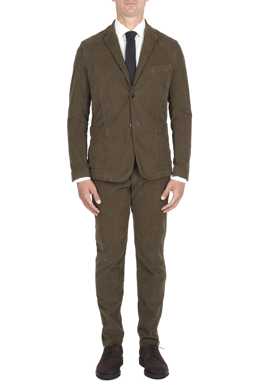 SBU 01552_2020SS Abito in velluto elasticizzato a coste verde completo di giacca e pantalone 01