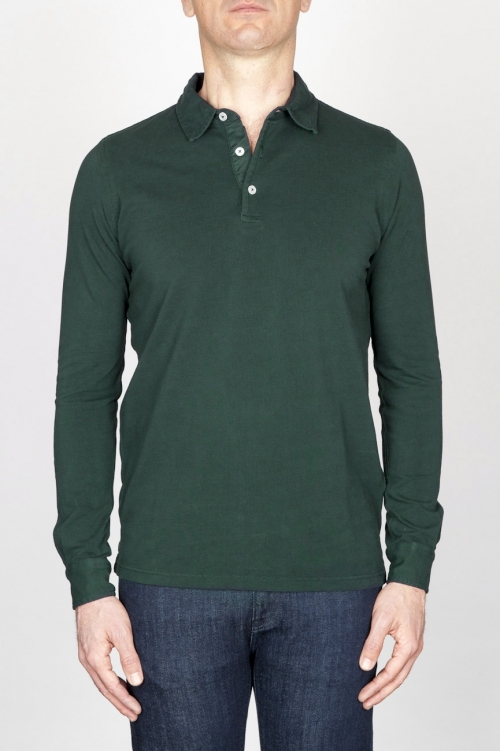 Classic Long Sleeve Stone Washed Dark Green Pique Polo Shirt