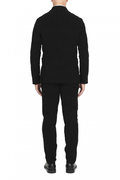 SBU 01553_2020SS Black stretch corduroy sport suit blazer and trouser 01
