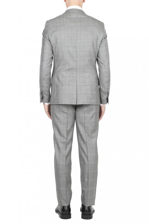SBU 01588_2020SS Veste et pantalon de costume formel en laine fraîche gris Prince de Galles 01