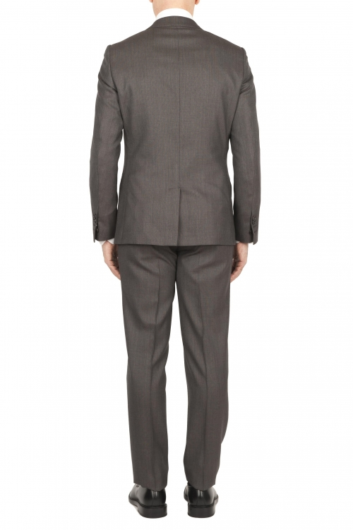 SBU 01589_2020SS Blazer y pantalón de traje formal en lana  fresca marrón oscuro 01