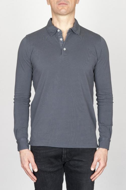 古典的な長袖ストーンウォッシュグレーピケポロシャツ