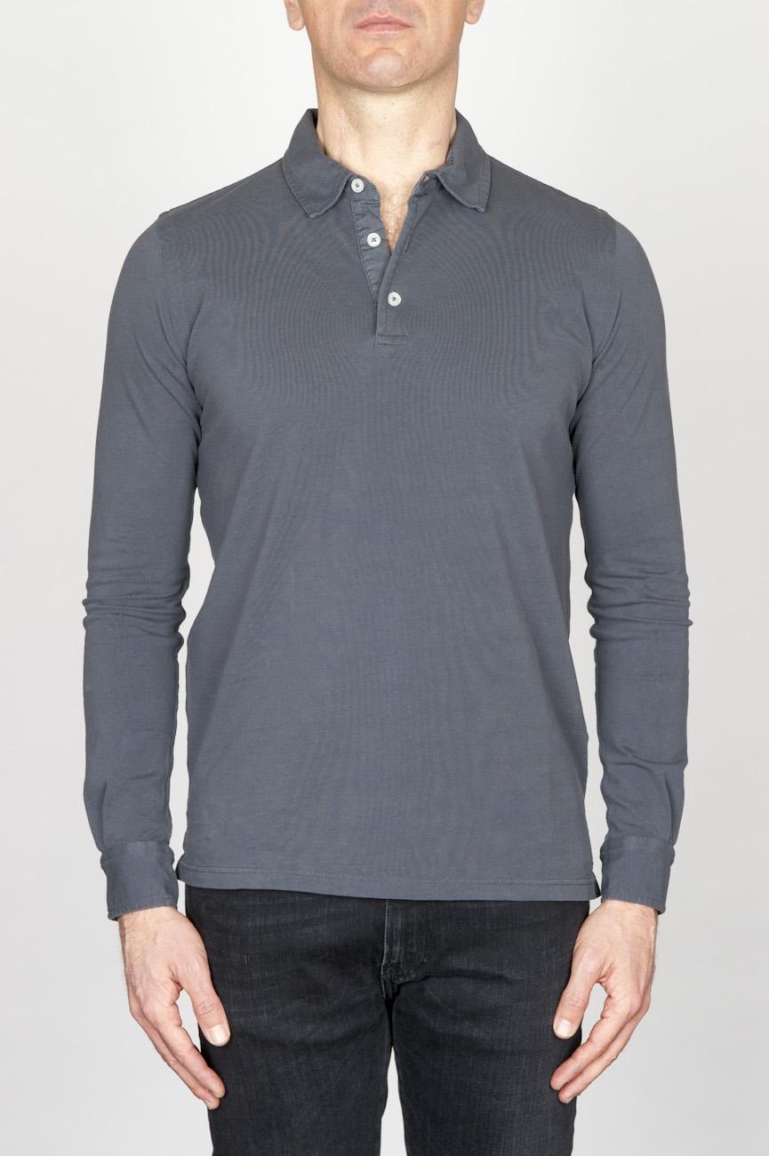 SBU - Strategic Business Unit - Classic Long Sleeve Stone Washed Grey Pique Polo Shirt