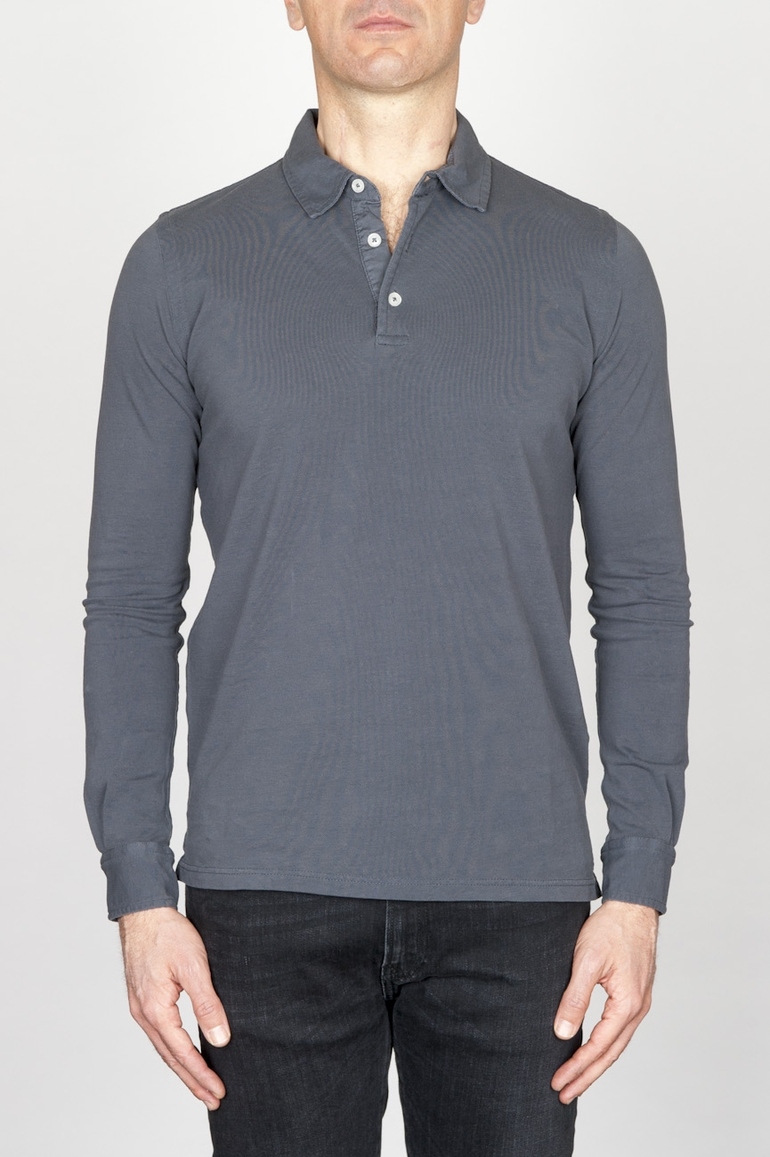 SBU - Strategic Business Unit - Classic Long Sleeve Stone Washed Grey Pique Polo Shirt