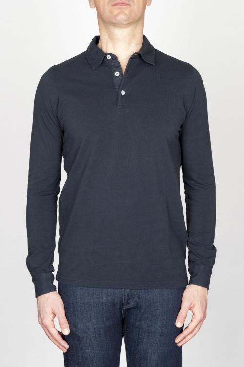 SBU - Strategic Business Unit - Classic Long Sleeve Stone Washed Navy Blue Pique Polo Shirt