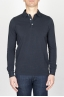 Classic Long Sleeve Stone Washed Navy Blue Pique Polo Shirt