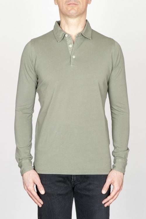 SBU - Strategic Business Unit - 古典的な長袖ストーンは、軍事緑のピケのポロシャツを洗浄