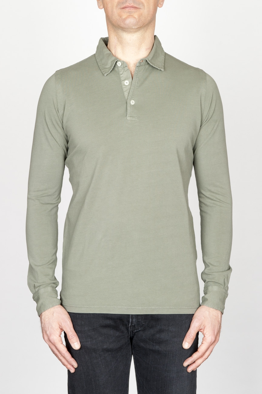 Classic Long Sleeve Stone Washed Military Green Pique Polo Shirt